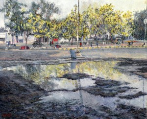 Amaltas Trees in The Month of May  - 28 x 32 Inches - Oil on Canvas