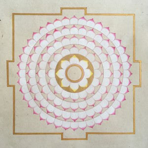 31. Susana Marin - Heart Lotus - 19.5 x 19.5 cm - Traditional Indian pigments and shell gold on Handmade paper - 2017
