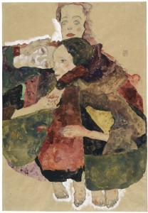 Key 75 Egon Schiele, Group of Three Girls, 1911 Pencil, watercolour and gouache with white gouache heightening on packing paper, 44.7 x 30.8 cm The Albertina Museum, Vienna Exhibition organised by the Royal Academy of Arts, London and the Albertina Museum, Vienna