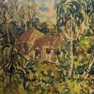 Sultan, Village scene, Water colour on paper, 1968